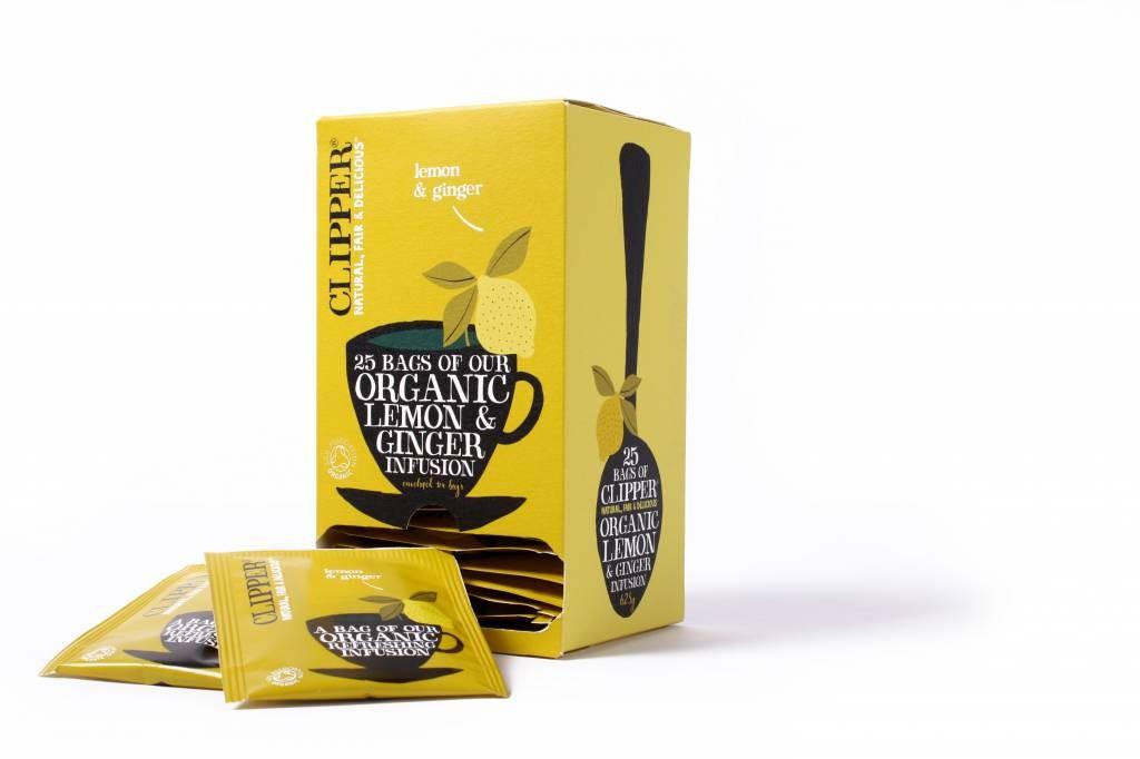 Clipper Fairtrade Infusion Lemon & Ginger BIO 6 x 25 zakjes