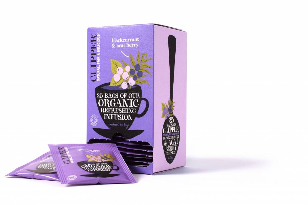 Clipper Fairtrade Infusion Blackcurrant & Acai BIO 6 x 25 zakjes