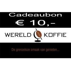 Wereldkoffie koffiebonen Cadeaubon € 10,-