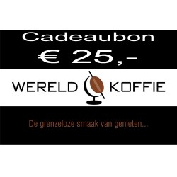 Wereldkoffie koffiebonen Cadeaubon € 25,-